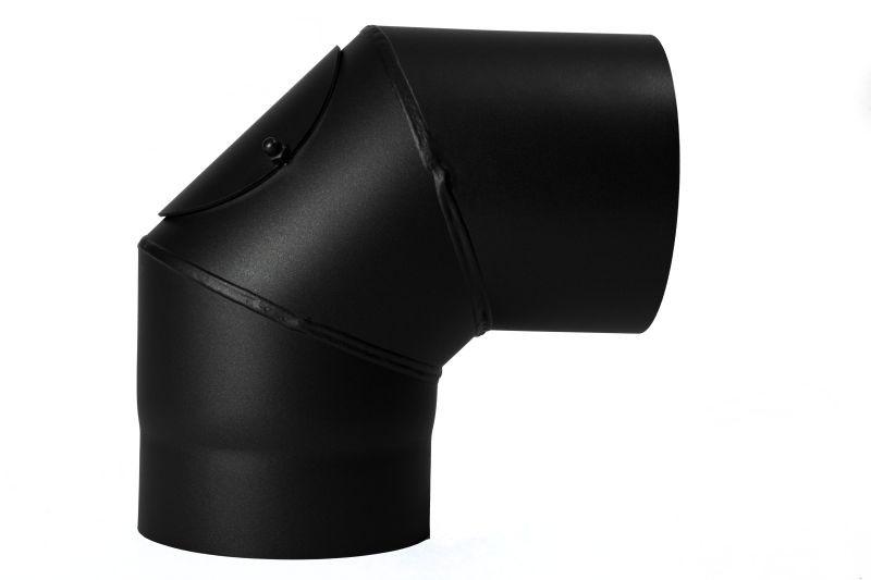Rauchrohr Segmentbogen 90 Grad -Bogen mit Prüföffnung